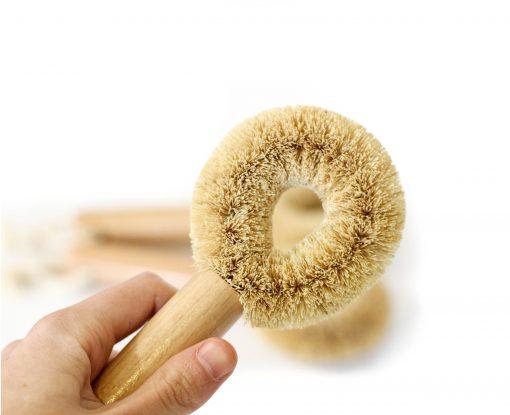 Kokosowa szczotka do naczyń okrągła- wegańska, jasna
