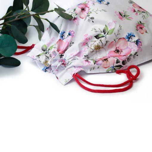 worek na pieczywo bawełniany w kwiaty jabłoni
