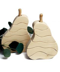 Drewniana gruszka układanka Montessori